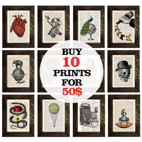 Book prints SPECIAL SALE select any 10 book prints for ONLY fifty dollars Prints on Vintage Encyclopedic Dictionary SET013