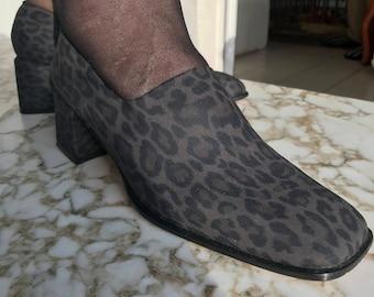 90s slip on block heel animal print