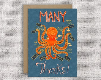 Many Thanks Card | Funny thank you card, octopus card, appreciation, aquatic card, multi-tasking, grateful, marine biology, fish