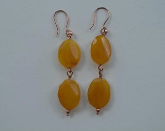 Warm Calcite gemstone dangle earrings, set with Copper findings
