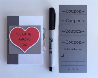 Father's Day Coupon Book, Dad Gift, Mini Coupons, Pocket Book, Gift for Dad, Father's Day Card, Card for Dad, Handmade Gift