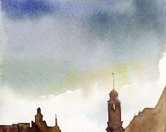 Castle on the River Painting- Print from Original Watercolor Painting-House Decor-Interior Picture