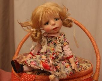 девочка Поля, polymer clay, art doll, decorative doll, interior doll, collecting doll, sculped doll