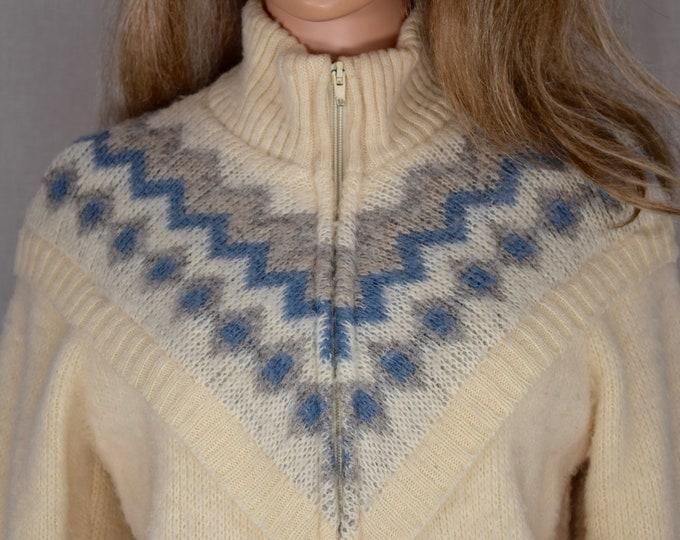 Vintage 1980's Women's ICEMART Aztec Native Nordic Scandinavian HiPPiE Boho HiPsTeR Oversized WOOL Sweater Jacket Coat Size S
