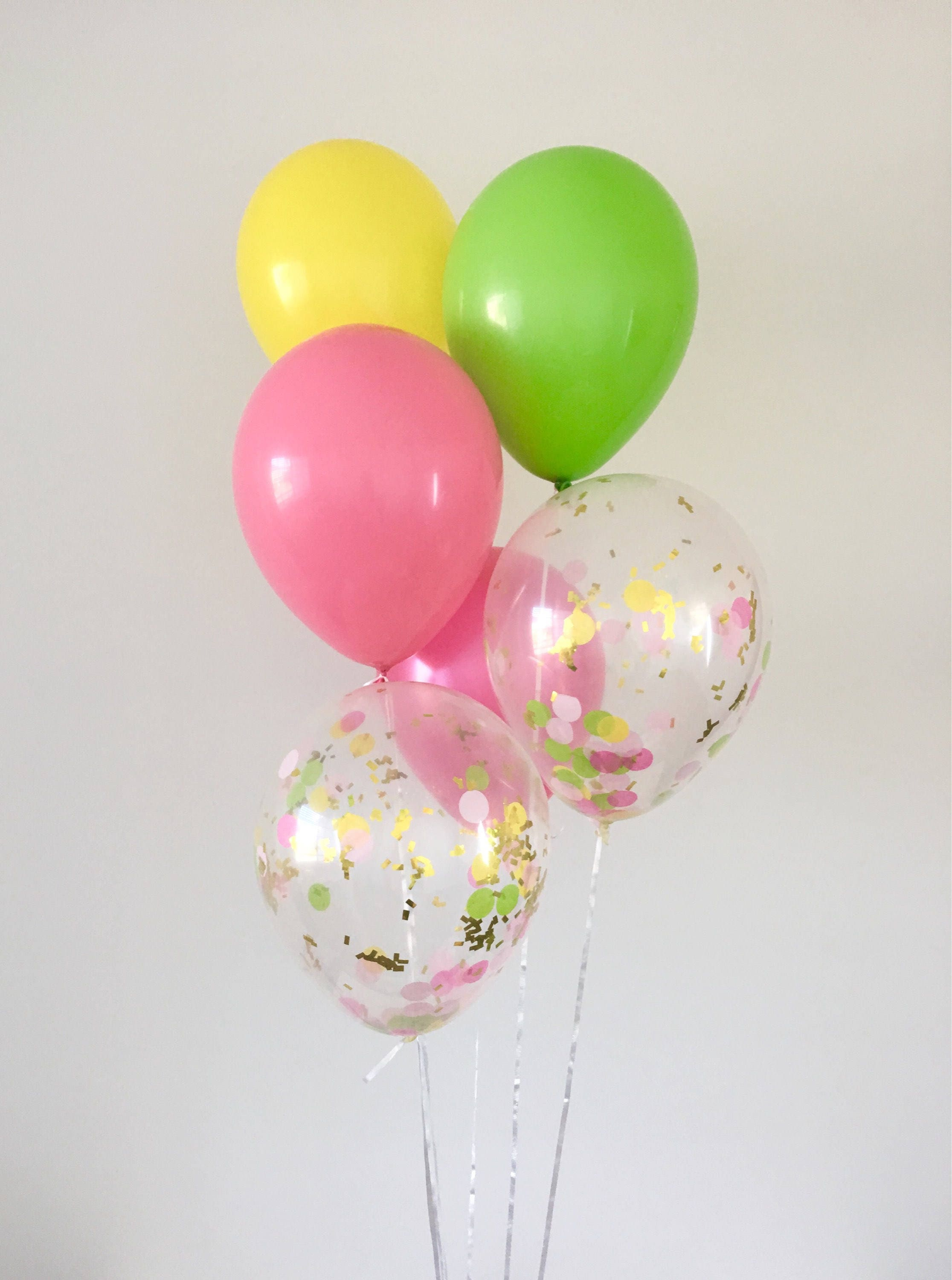 Hot Pink Lime Yellow Latex Balloons Tutti Fruity Party