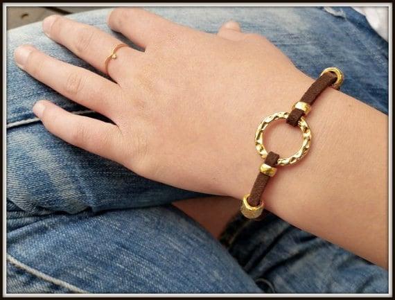 Leather Gold Bracelet, Gold Leather Wristband, Women Cuff Bracelet, Friendship leather bracelet, Women Hoop Bracelet, Circle Bracelet