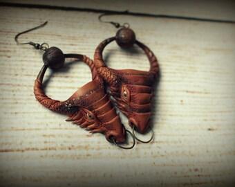 polymer clay fantasy dragon earrings