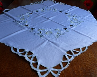 Vintage German Pichler Tablecloth in White with Cutwork and Embroidered Flowers