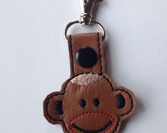 Monkey Bag Tag,  Keychain; Backpack tag, Purse Charm with lobster clasp
