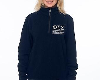 Phi Sigma Sigma, FSS, Phi Sig Quarter Zip Fleece Pullover, Sorority Quarter Zip, Phi Sigma Sigma Sorority, Phi Sigma Sigma Clothing