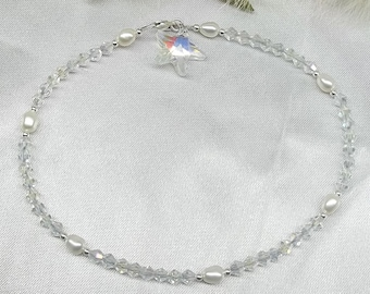 Starfish Anklet Clear Crystal Anklet Pearl Ankle Bracelet White Pearl Anklet Beach Wedding Jewelry Beach Jewelry Sterling Silver Buy3+1Free
