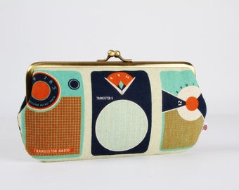 Frame purse with two sections - Transistors in blue and orange - Wowlet / Kisslock wallet / Japanese fabric / Melody Miller / Retro style