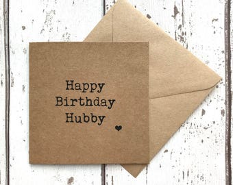 Hubby birthday card, husband birthday card, happy birthday hubby, funny husband card, hubby card, custom quote card, hubby birthday card