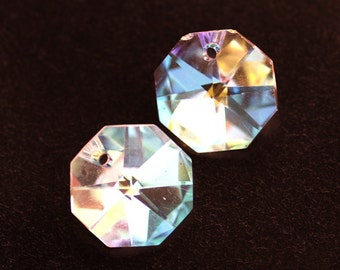 14mm Crystal AB Octagon Octagons Mirrored Pendant Bead with One Hole, Chandelier Crystal with One Hole, (A2-R1-C5), Quantity 2