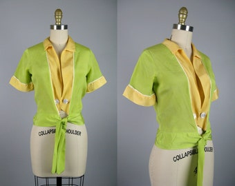 Vintage 1930s Spring Green Silk Blouse 30s Color Block Short Sleeve Top Size S