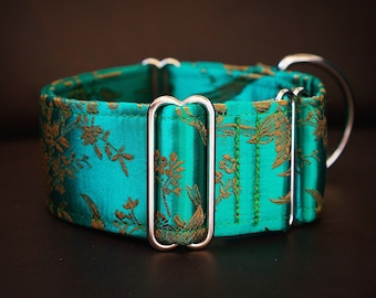 PARADISE - Special occasion martingale collar, Fancy sighthound collar, Greyhound collar, Galgo collar, Green Martingale, Brocade martingale