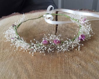 Child or baby gypsophila and rose bud flower crown