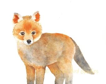 Baby Fox Print, Watercolor Fox, Woodland Animal, Woodland Fox with Flower Crown, Fox Illustration, Cute Fox, Nursery Animal, Nursery Fox