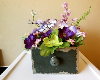Wooden Drawer~Floral Arrangement~Get Well~Congratulations~Birthday~Flowers~Gift for Her-Anniversary-Just Because-Get Well-Cheer