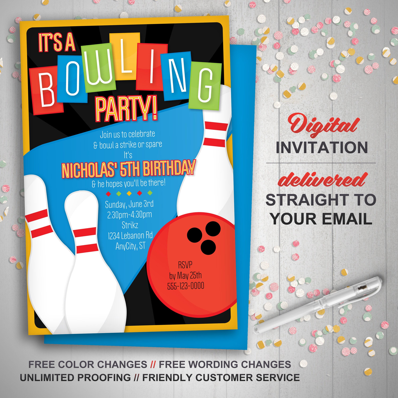 Printable Bowling Invitation Retro bowling invite bowling