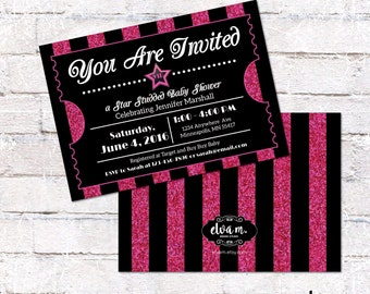 Pink Sparkle Hollywood Ticket Invitation. Hollywood or Film Party Invite for all occasions. Digital File to Print Yourself.