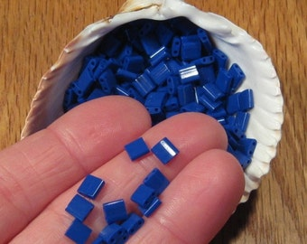 Blue Tila Beads, Opaque Cobalt # 414, 5mm Miyuki Brand w/ Two Holes, Square Flat & Shiny Glass, 5 mm Little Tiles
