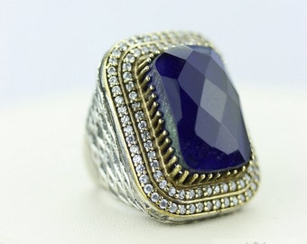 Size 7.5 Sapphire Victorian Estate (Nickel Free) 925 Sterling Silver Ring r1971