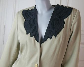 Khaki Blazer Women's, Khaki Black Jacket, Pinya Blazer, Smart Blazer, Professional Woman Lightweight Blazer: Size 10 US, Size 14 UK