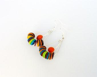 Earrings multicolor round module 02