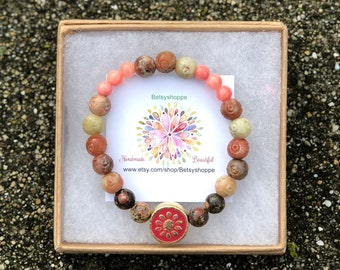 perfect pinks and ambers, good vibes, bohemian, soapstone, bracelet