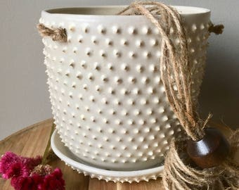 large white hanging spiky planter / handmade ceramic  / textured plant pot for houseplants and succulents