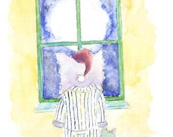 Elephant Moonlight wish Original signed watercolor watercolour painting nursery fantasy art illustration