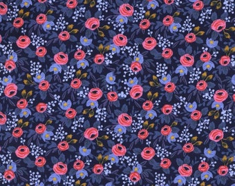 Rosa Navy - Les Fleurs - Anna Bond Rifle Paper Co - Cotton + Steel - 8004-02