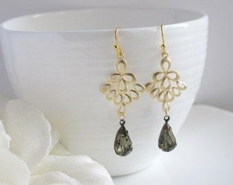 Modern Style Black Diamonds Peacock Feather Drop Earrings. Vintage Glass Jewels, Lead Free Gold Plated Brass Earwire