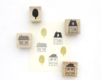 Rubber Stamp Set - House Village
