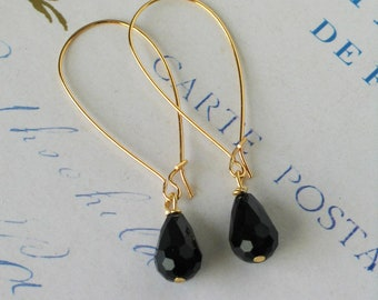 Black faceted Glass Teardrop Earrings, Long Classic Earrings, Kidney Wire Earrings