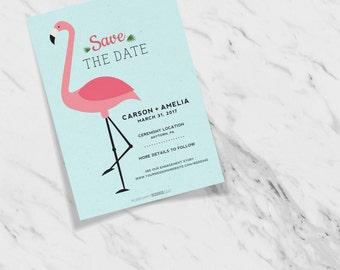 Let's Flamingle Festive Flamingo Wedding Save the Date Announcements