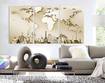 World map interior etsy large 30x 60 3 panels art canvas print wonders of the world 3d gumiabroncs Images