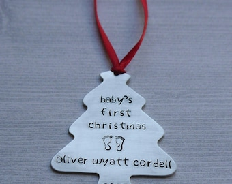Baby's First Christmas ornament - hand-stamped - custom new baby ornament - personalized ornament