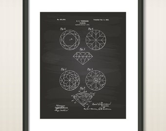 Diamond 1902 Patent Art Illustration - Drawing - Printable INSTANT DOWNLOAD - Get 5 colors background