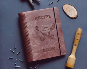 Custom Blank Recipe Binder Book Journal Cookbook Wooden Kitchen Cook Notebook Personalized Recipe Cooking Book Gift for Man Husband Him