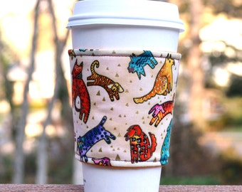 FREE SHIPPING UPGRADE with minimum -  Fabric coffee cozy / cup holder / coffee sleeve  / tea sleeve -- Batik Animals