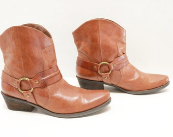 Franco Sarto women brown ankle  cowboy western boots size 9