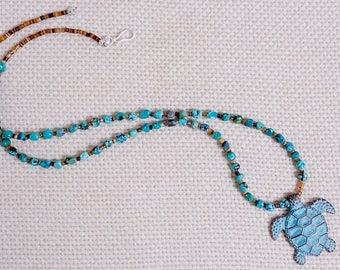 Turquoise Nugget Necklace with Sea Turtle Charm