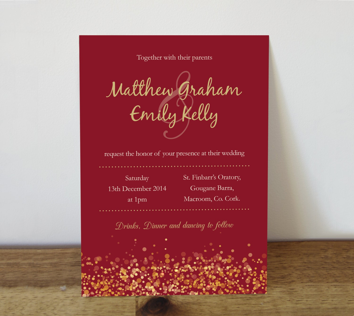 Wedding Invitation Printable Wedding Invitation Red