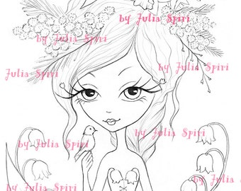 Digi Stamps, Digital stamp, Spring Flowers, Lily of the valley, Spring Girl, Bird Mimosa. The  Spring Flowers Collection. The Spring Flowers