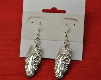 Evening Star Silver Fish Hook Style Spoon Earrings