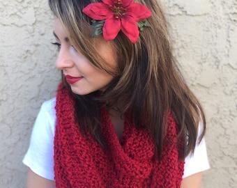 Red Poinsettia Flower Hair Clip - Christmas Holiday Hair Clip - Festive Hair Clip - Christmas Outfit - Holiday Hair Accessories