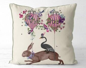 Hare pillow cover - Hot Air Balloon Pillow hare Cushion throw pillow cover rabbit pillow cover Bird pillow cover scatter cushion hare gift