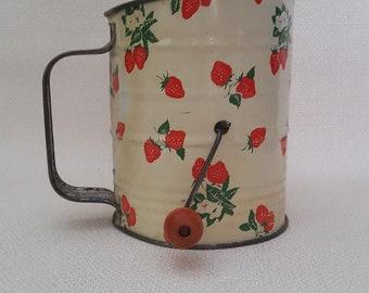 Vintage 1950s Flour Sifter - Strawberry Motif